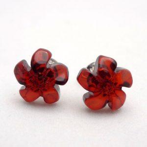 Обици от кехлибар, цвете